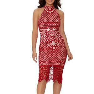 Red Guipure Bodycon Midi Lace Dress